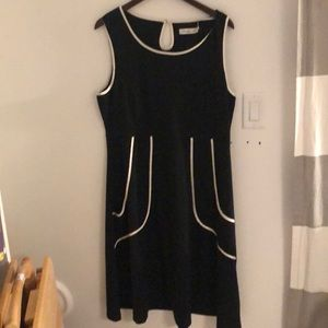 Never Worn Black Dress with White Satin Piping 1X